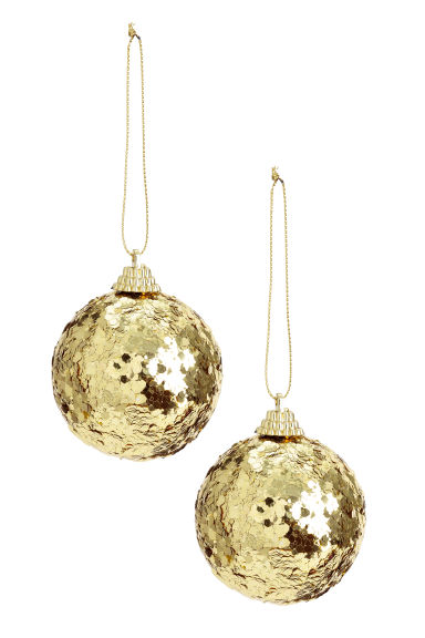 Boules de Noël, lot de 2 - Doré - Home All | H&M FR 1