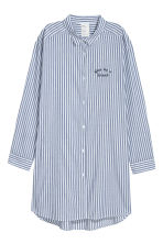Cotton nightshirt - Dark blue/White striped - Ladies | H&M 1
