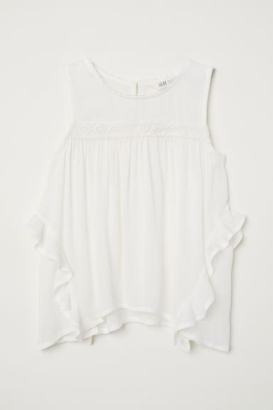 Crinkled blouse - White -  | H&M CN