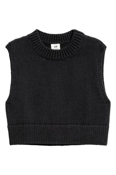 Chunky-knit slipover - Black - Men | H&M