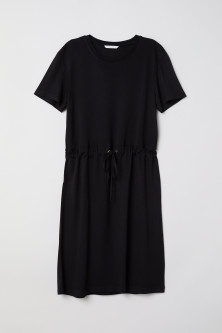 Jersey dress with a drawstring