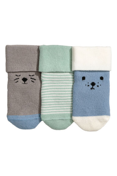 3-pack terry socks - Dusky blue -  | H&M