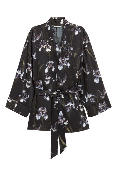 Kimono jacket - Black/Patterned - Ladies | H&M