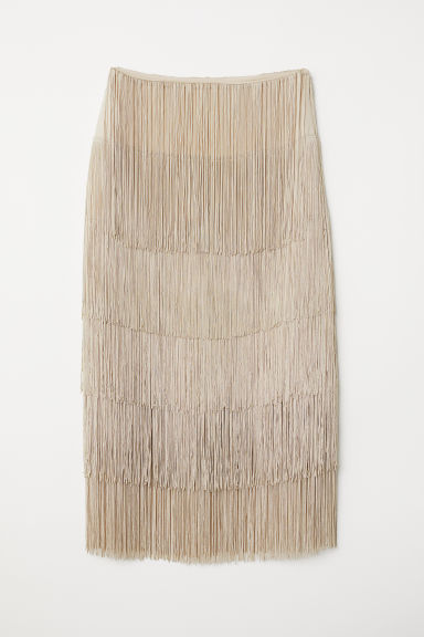 Skirt with fringing - Light beige - Ladies | H&M CN