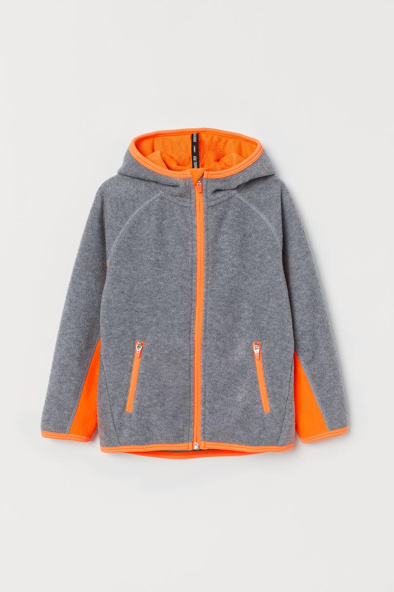 Fleece sports jacket - Grey marl/Orange - Kids   H&M GB