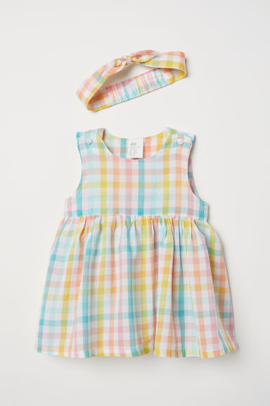Dress and hairband - Pink/Yellow checked - Kids | H&M CN