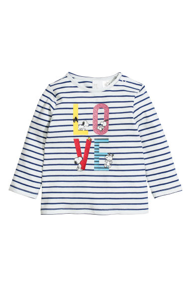 Long-sleeved top - Natural white/Striped -  | H&M CN