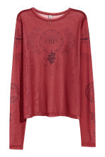 Mesh top with a motif - Rust red - Ladies | H&M IE 2
