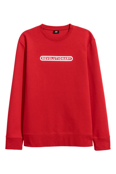 Printed sweatshirt - Bright red -  | H&M