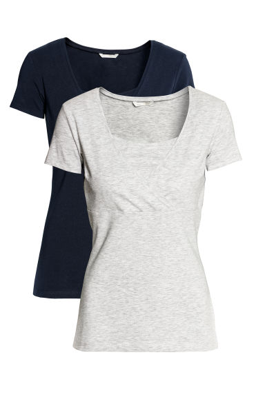 MAMA 2-pack nursing tops - Dark blue/Light grey - Ladies | H&M