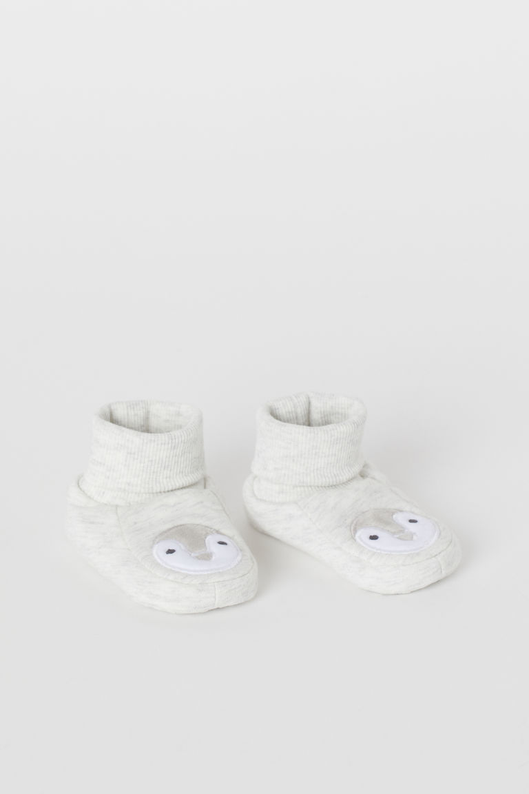 Bootees - Light grey marl/Penguin - Kids | H&M GB