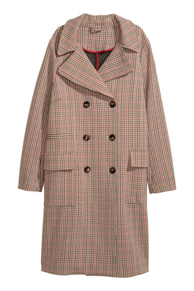 Double-breasted coat - Beige/Checked - Ladies | H&M