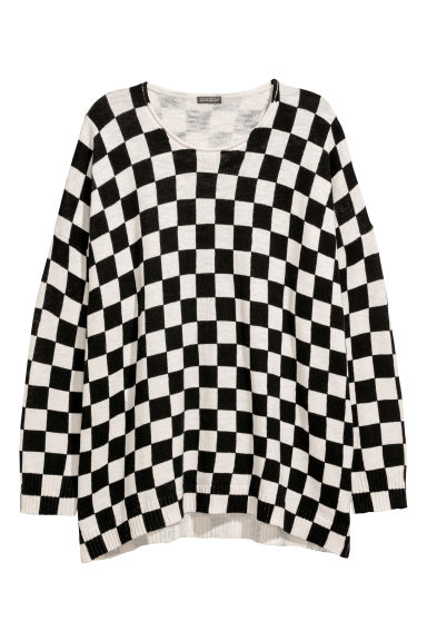 Pullover oversize - Bianco naturale/nero quadri -  | H&M IT