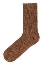Ribbed socks - Dark yellow marl - Men | H&M GB 1