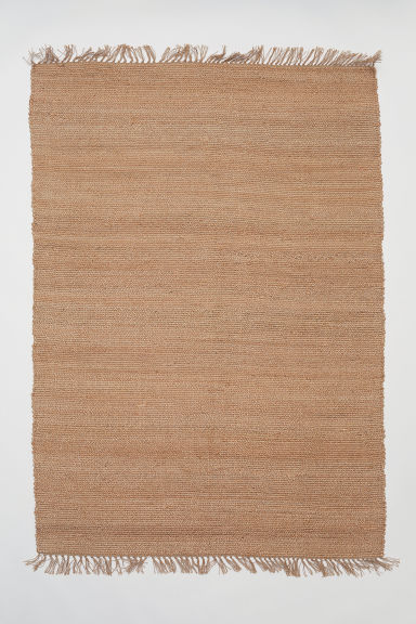 Fringed jute rug - Light beige - Home All | H&M GB