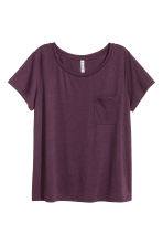 T-shirt with a chest pocket - Dark purple - Ladies | H&M CN 1