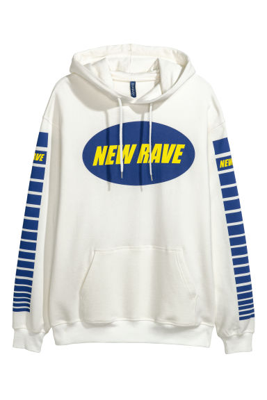 Capuchonsweater met print - Wit/New Rave -  | H&M NL