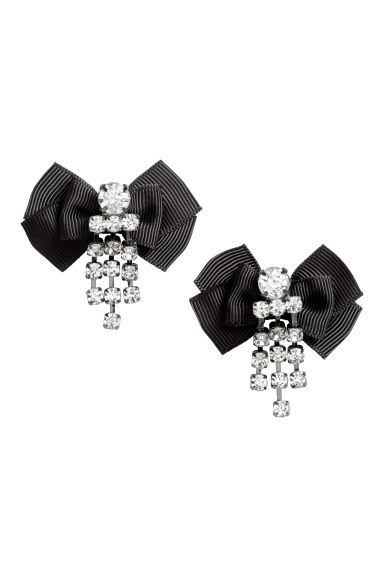 Earrings with a bow - Black - Ladies | H&M CN