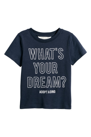 Printed T-shirt - Dark blue/What's Your Dream - Kids | H&M CN