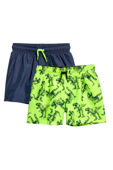 2-pack swim shorts - Neon green/Dark blue - Kids | H&M CN