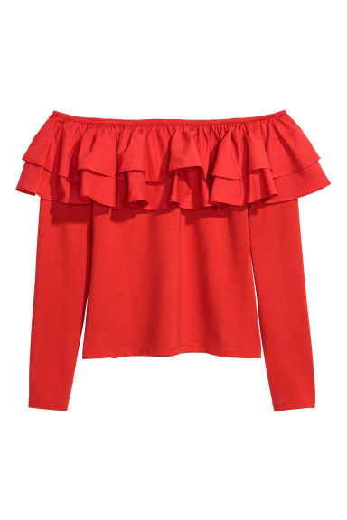 Off-the-shoulder top - Red - Ladies | H&M GB