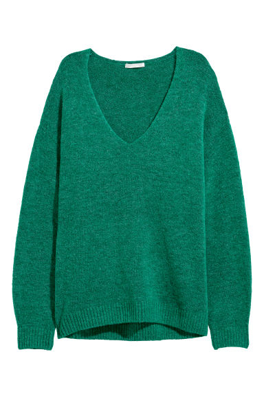Fine-knit jumper - Emerald green - Ladies | H&M CN
