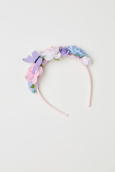 Alice band with flowers - Light pink - Kids | H&M CN