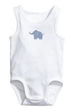 3-pack sleeveless bodysuits - White/Elephant - Kids | H&M CN 4