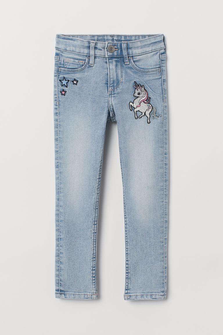 Skinny Fit Jeans - Light denim blue/Unicorn - Kids | H&M GB