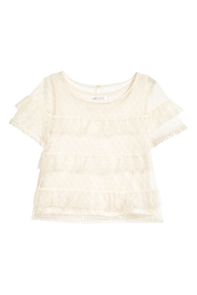 Mesh frilled top - Natural white -  | H&M GB