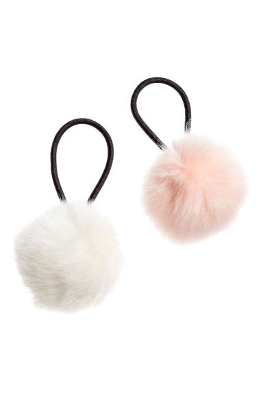 2-pack pompom hair elastics - Light pink/White - Ladies | H&M 1