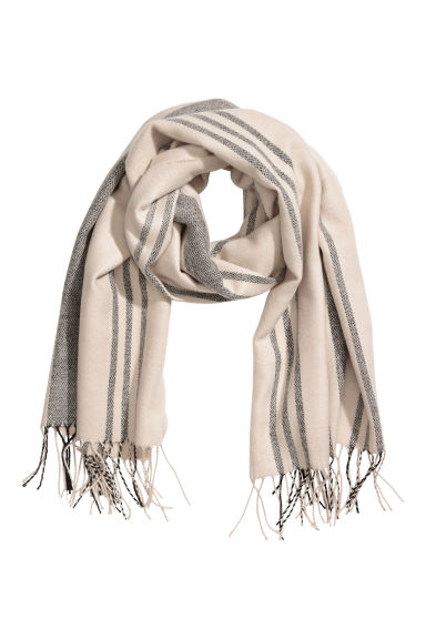Scarf - Beige/Grey striped - Ladies | H&M