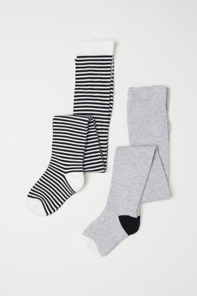 2-pack fine-knit tights - Grey - Kids | H&M CN