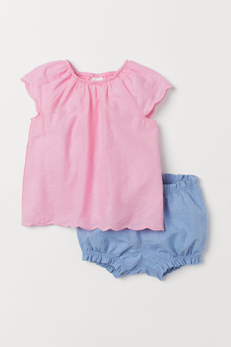 Top and puff pants - Pink/Blue - Kids | H&M GB