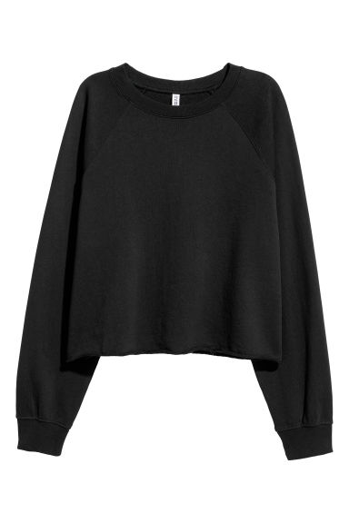 Short sweatshirt - Black - Ladies | H&M CN