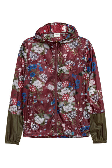 Floral-patterned nylon jacket Model