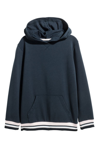 Glittery hooded top - Dark blue - Kids | H&M