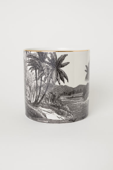 Cache-pot en porcelaine - Noir/motif - Home All | H&M FR