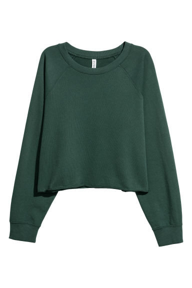 Short sweatshirt - Dark green - Ladies | H&M CN