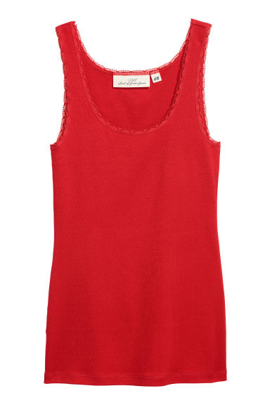 Lace-trimmed cotton vest top - Red - Ladies | H&M CN