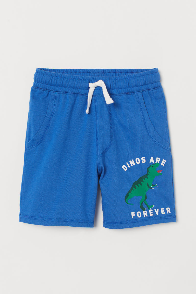 Jersey shorts - Bright blue/Dinosaur - Kids | H&M GB