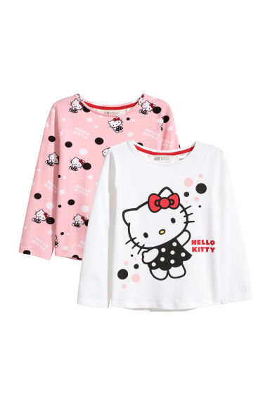 2-pack long-sleeved tops - Light pink/Hello Kitty - Kids | H&M CN
