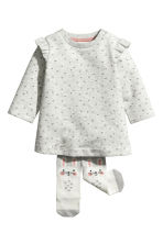 Dress and tights - Light grey - Kids | H&M CN 1