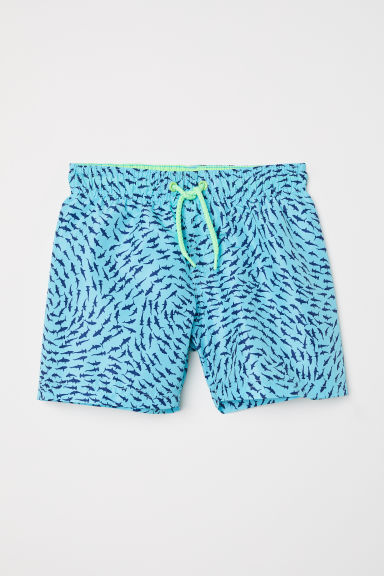 Patterned swim shorts - Turquoise/Sharks -  | H&M CN