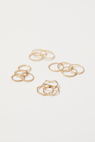 14-pack rings - Gold - Ladies | H&M