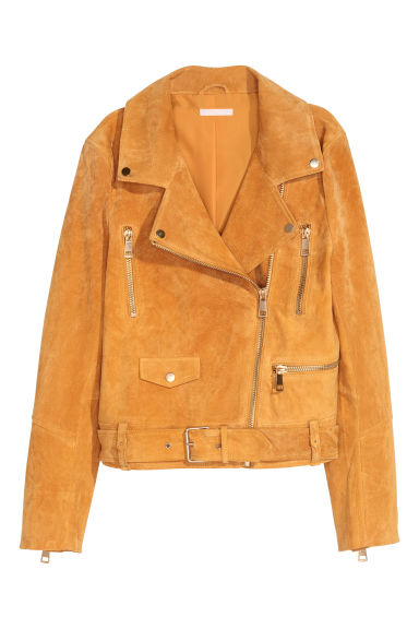 Suede biker jacket - Yellow - Ladies | H&M CN