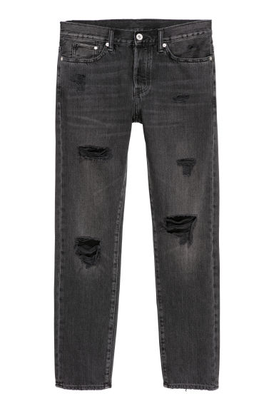 Trashed Straight Jeans - Black/Washed out -  | H&M CN