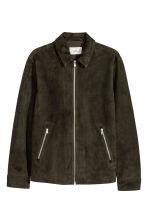 Suede shirt jacket - Dark khaki green - Men | H&M 3