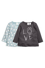 2-pack jersey tops - Dark grey/Turquoise - Kids | H&M CN 1