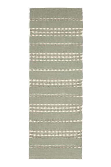 Textured striped cotton rug - Dusky green/Natural white - Home All | H&M GB